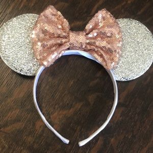 Silver sparkling Mickey ears